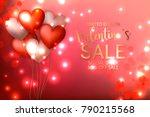 valentine's sale banner red... | Shutterstock .eps vector #790215568