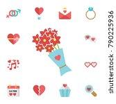 valentine's day flower flat... | Shutterstock .eps vector #790225936