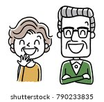 senior couple  smile  laugh | Shutterstock .eps vector #790233835