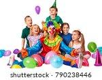 birthday child clown playing... | Shutterstock . vector #790238446