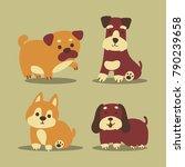 cute funny cartoon dogs vector. | Shutterstock .eps vector #790239658