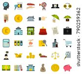 finance icons set. flat style... | Shutterstock .eps vector #790259362