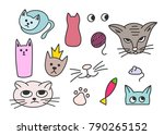 meow cats fish mouse... | Shutterstock .eps vector #790265152