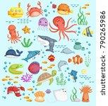 underwater vector set | Shutterstock .eps vector #790265986