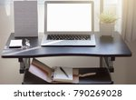 desk with laptop books ... | Shutterstock . vector #790269028
