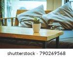 wooden sofa set and pillow  ... | Shutterstock . vector #790269568