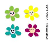 flower paper stickers with...   Shutterstock .eps vector #790271656