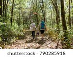 young family hiking in the... | Shutterstock . vector #790285918