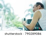 asian senior man pushing the... | Shutterstock . vector #790289086