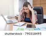 woman headache after hard work... | Shutterstock . vector #790318495