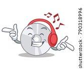 listening music cd mascot... | Shutterstock .eps vector #790318996