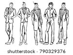 fashion man. set of fashionable ... | Shutterstock .eps vector #790329376