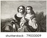Old Illustration Of Two Sisters....