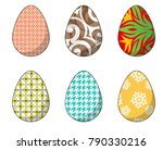 happy easter.set of easter eggs ... | Shutterstock .eps vector #790330216