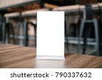 mock up menu frame standing on... | Shutterstock . vector #790337632