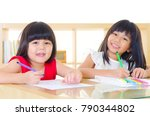 asian kids drawing picture with ... | Shutterstock . vector #790344802