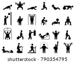 fat man fitness training.... | Shutterstock . vector #790354795