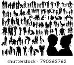 family vector silhouettes   Shutterstock .eps vector #790363762