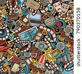 cartoon cute doodles cinema... | Shutterstock .eps vector #790370158