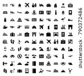 tourism icons. set of 100... | Shutterstock .eps vector #790372486