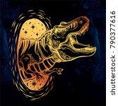 tyrannosaurus dinosaur head....   Shutterstock .eps vector #790377616