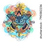 magic butterfly tattoo art... | Shutterstock .eps vector #790382236