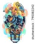 light bulb tattoo and art... | Shutterstock .eps vector #790382242