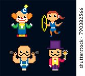 circus characters icon set.... | Shutterstock .eps vector #790382566