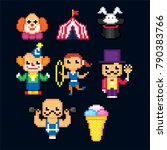 circus icon set. pixel art. old ... | Shutterstock .eps vector #790383766