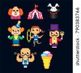 circus icon set. pixel art. old ... | Shutterstock .eps vector #790383766