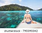 beautiful woman tourist sitting ... | Shutterstock . vector #790390342
