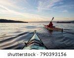 adventure man on a sea kayak is ... | Shutterstock . vector #790393156