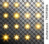 set of burst light flash glow...   Shutterstock .eps vector #790393846