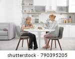 senior woman and caregiver...   Shutterstock . vector #790395205