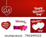 set card happy valentines day... | Shutterstock .eps vector #790399525