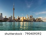 toronto city skyline at sunset  ... | Shutterstock . vector #790409392