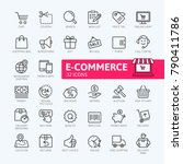 E-commerce, online shopping and delivery elements - minimal thin line web icon set. Outline icons collection. Simple vector illustration. | Shutterstock vector #790411786
