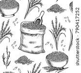 rice . vector seamless pattern | Shutterstock .eps vector #790417252