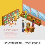 isometric interior of grocery... | Shutterstock . vector #790419046