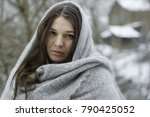 dramatic winter woman portrait | Shutterstock . vector #790425052
