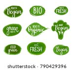 vector lettering eco green... | Shutterstock .eps vector #790429396
