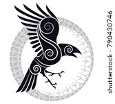 the raven of odin in a celtic... | Shutterstock .eps vector #790430746