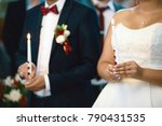 happy bride and stylish groom... | Shutterstock . vector #790431535