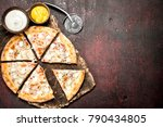 cheese fresh pizza. on a rustic ... | Shutterstock . vector #790434805