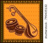 vector design of veena and... | Shutterstock .eps vector #790435132