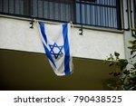 Israeli Flag Hanging On Typical ...