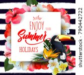 summer holidays background with ... | Shutterstock .eps vector #790442722
