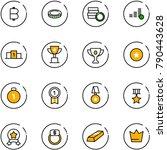 line vector icon set   bitcoin... | Shutterstock .eps vector #790443628
