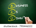 Small photo of BAU - Business as Usual acronym, business concept on blackboard
