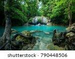 wonderful green waterfall and... | Shutterstock . vector #790448506